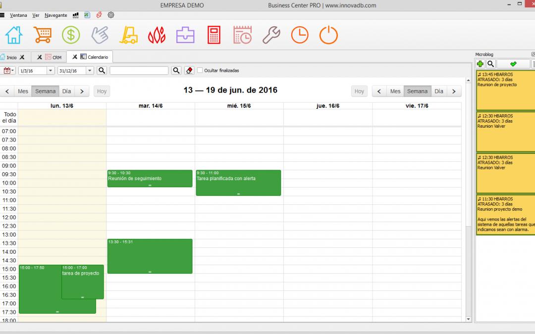 Organízate con las tareas y el calendario de BusinessCenter PRO